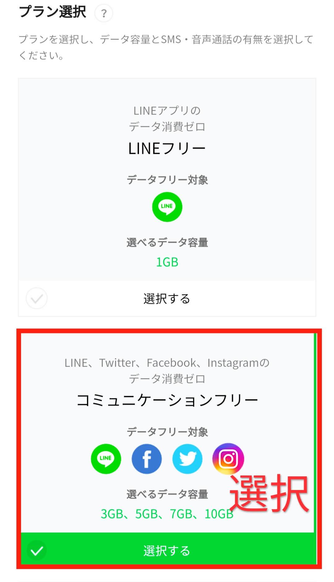lineモバイルのプラン選択