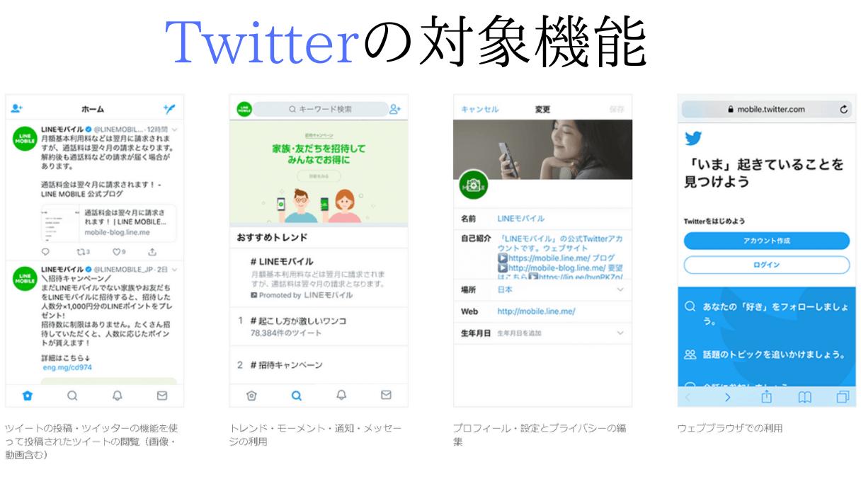 Twitterのデータフリ―対象の機能