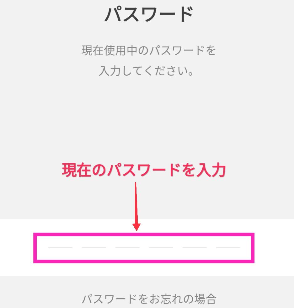 LINE Payで現在使用中のパスワードを入力