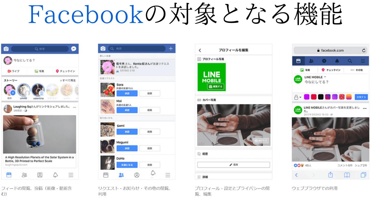 Facebookのデータフリー対象となる機能