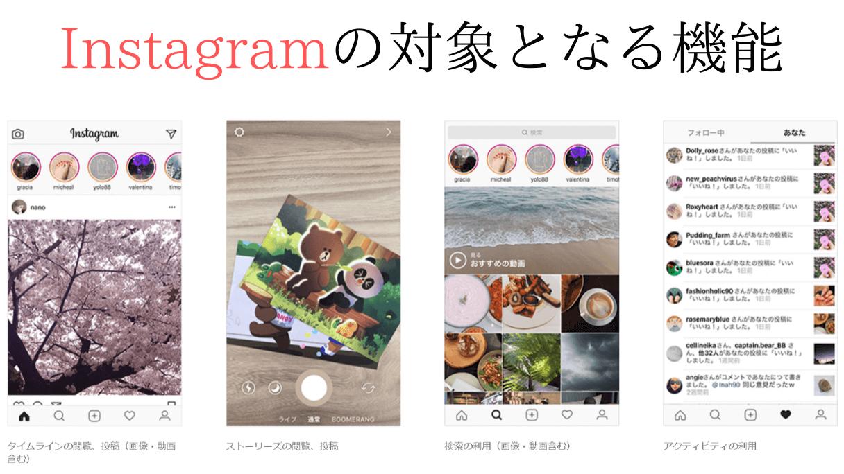 Instagramのデータフリー対象の機能