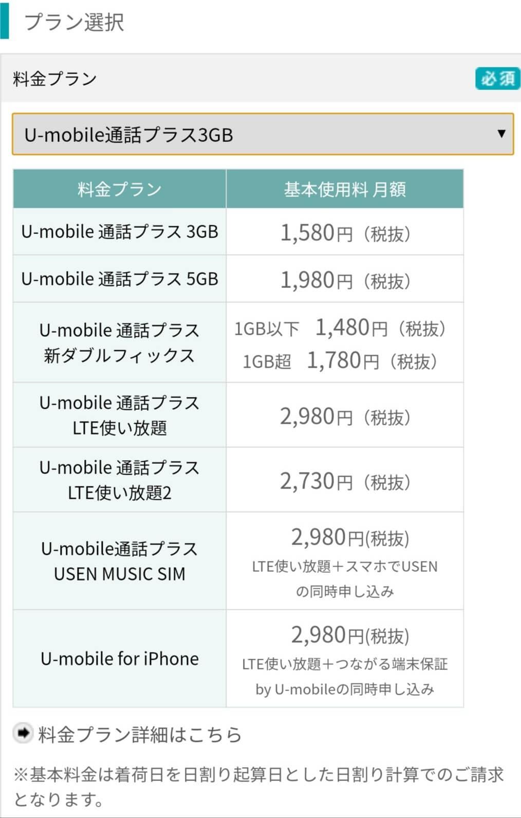 U-mobileのプランを選択