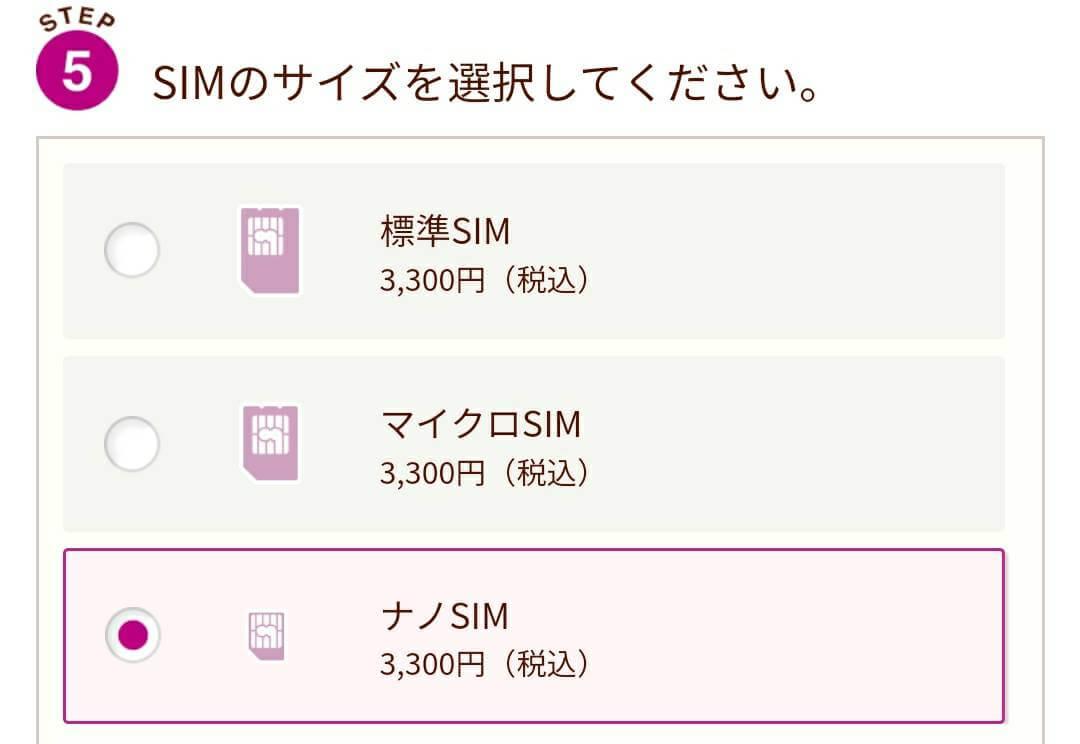 イオンモバイルのSIMのサイズを選択