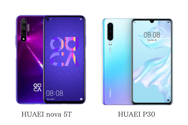 HUAWEI nova 5TとP30の大きさ比較