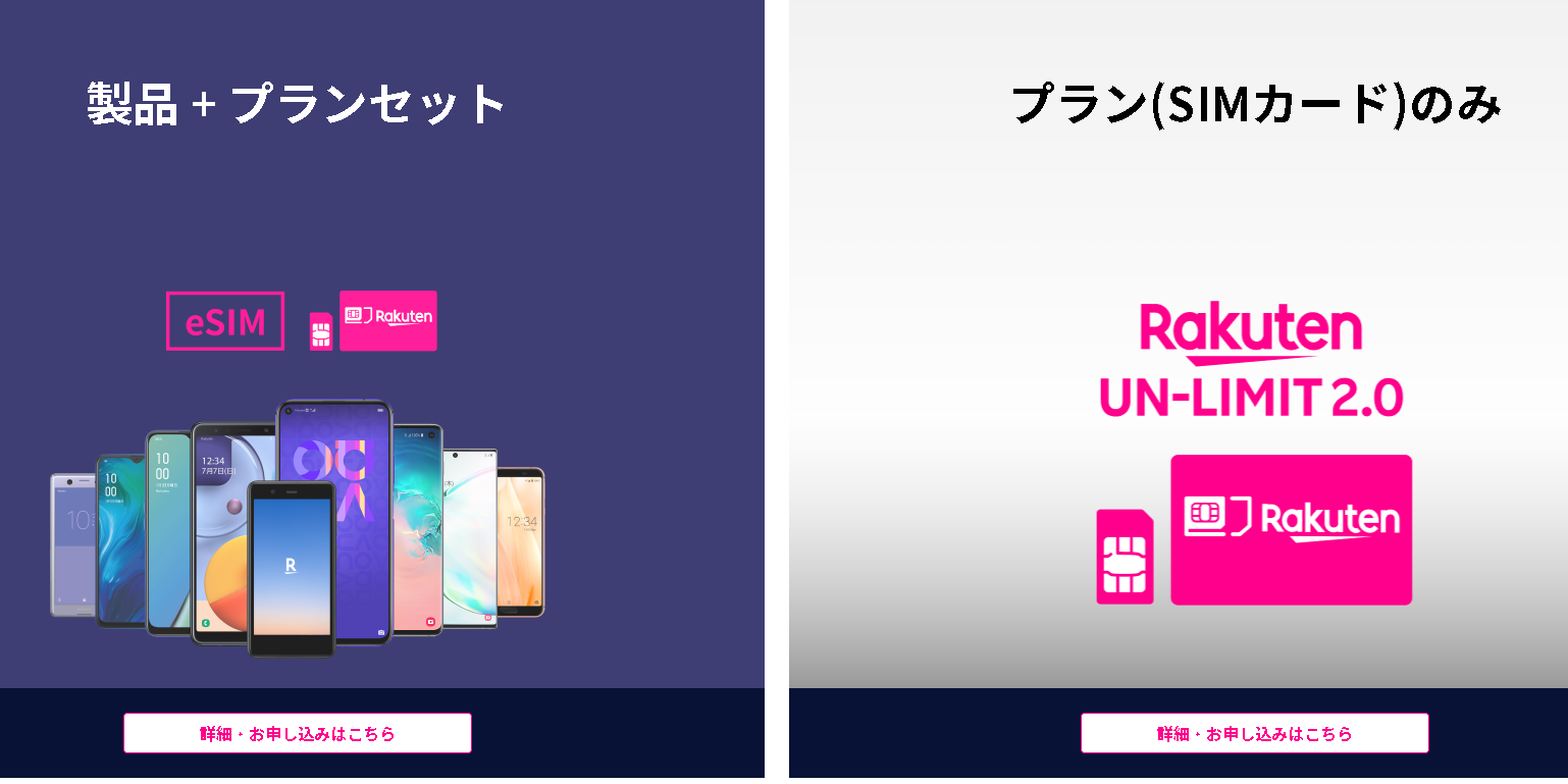 Rakuten UN-LIMITのお申込みタイプを選択して下さい