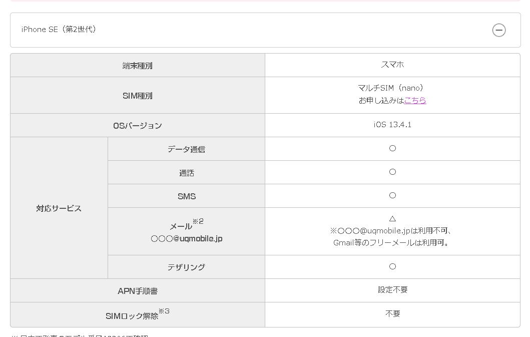 UQモバイルでiPhoneSE2は動作確認(対応)している
