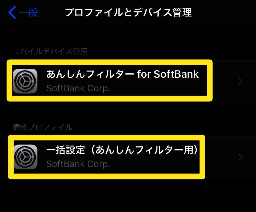 iPhone11に入っているソフトバンクのAPNプロファイル