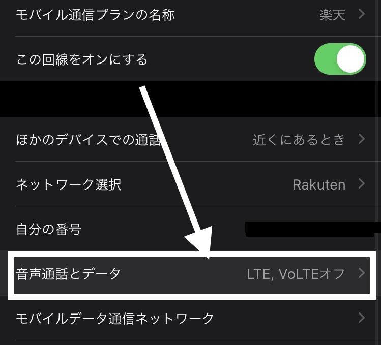 iPhoneの音声通話とデータの設定