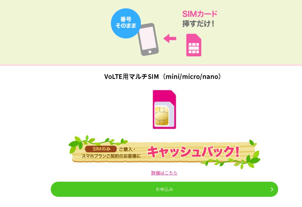 UQモバイルのSIMのみ購入