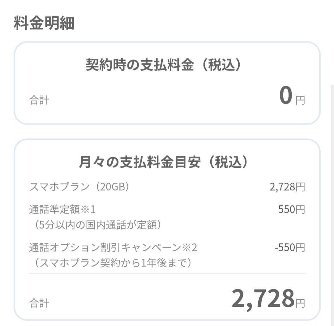 LINEMOの料金明細