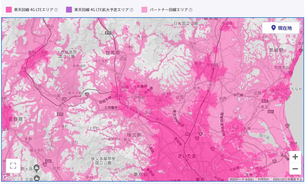 楽天モバイルの埼玉県の楽天回線対応エリアマップ