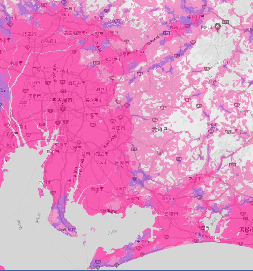 楽天モバイルの愛知県の楽天回線対応エリアマップ